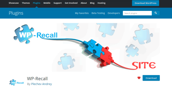 Страница плагина WP-Recall в репозитории WordPress